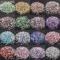 ZOTOONE 2-6mm 1000 sztuk dżetów kryształ wyczyść AB nie Hotfix Flatback Nail Rhinestoens na ubrania paznokcie 3D do paznokci sztuki dekoracji