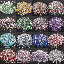 ZOTOONE 2-6mm 1000 pièces strass cristal clair AB Non Hotfix Flatback ongles Rhinestoens pour vêtements ongles 3D Nail Art décoration(China)