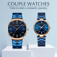 Couple Watch for Men and Women Simple Stainless Steel Waterproof Lover's Watches Fashion Casual Wristwatch Gifts Set for Sale