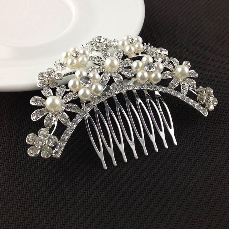 1 X Fashion Hair Combs Wedding Bride Headdress Crystal Rhinestone Floral Hairpins Hairclips Hair Comb   Headwear   Hair Accessories