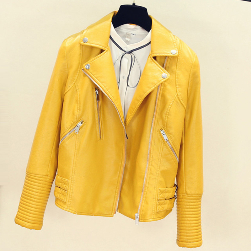 2019 Fashion Automotive Women   Leather   Jacket Yellow Slim Woman Short Dress Suit Faux   Leather     Suede   Coats Lady Streetwear A541