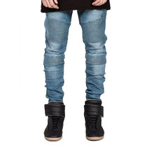 European&American Biker Jeans Mens Skinny Motorcycle Jeans Hip Hop Elastic Pleated Denim Pants Z1099