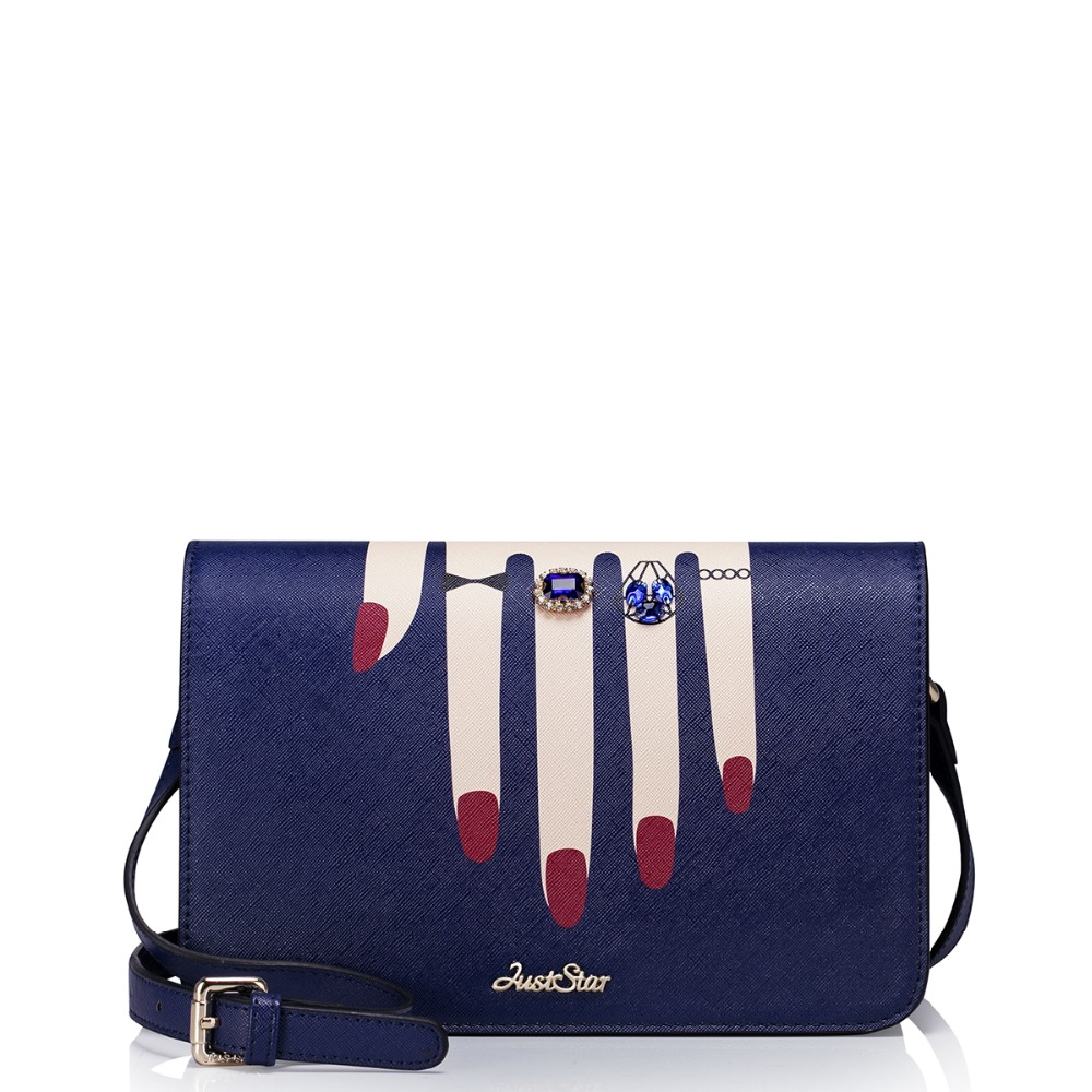 ФОТО Women Inlaid Rhinestone Ring Hand Pattern Print Blue Leather Cross Body Purse Messenger Bag