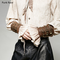 One Pair Punk Rave Steampunk Gothic Pu Leather Fashion Armor Sets Wristbands Arm Warmers Cosplay S200