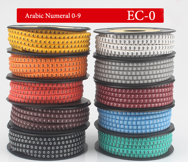 10Roll/Lot EC-0 1.5mm2 0-9 Letter 0 1 2 3 4 5 6 7 8 9 Pattern PVC Flexible Arabic Numeral Sleeve Concave Label Wire Cable Marker