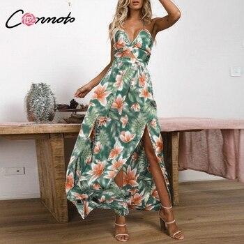 Conmoto Baskılı Dantel up Parti Maxi Elbise Kadınlar Backless Bölünmüş Spagetti Kayışı Seksi Elbise Seksi İmparatorluğu V Boyun uzun elbise Vestidos