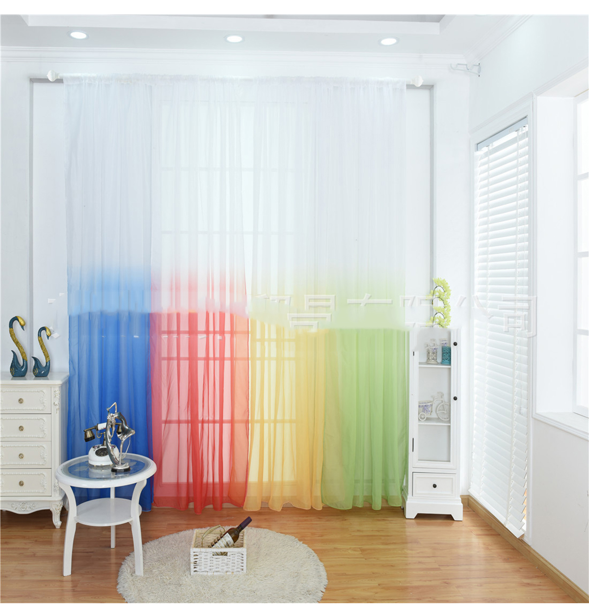 Gradient Tulle Curtains 3d Kitchen Decorations Window