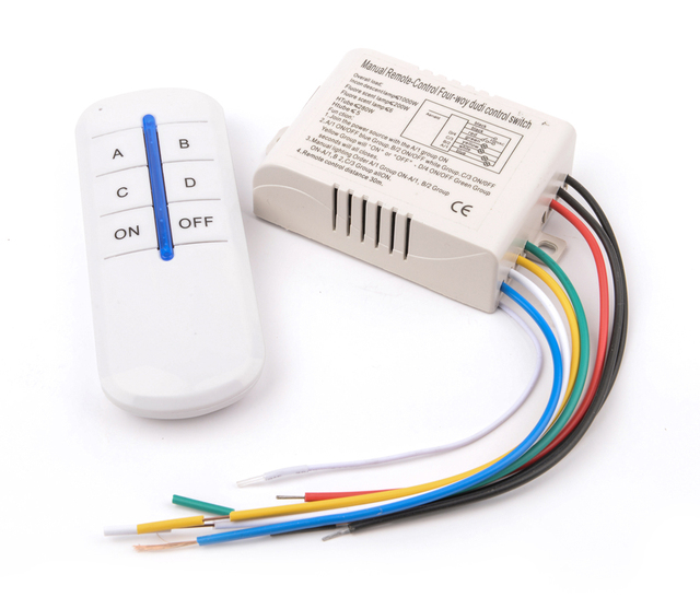 Wireless 4 Channels On Off 220v Remote Control Switch Digital For Lamp Light Ht037