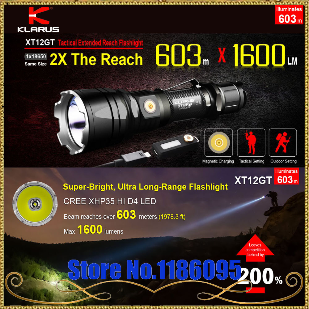 Newest KLARUS XT12GT CREE LED XHP35 HI D4  1600 Lumens Tactical Flashlight USB charging by 3600 mAh 18650 includ Li-ion battery new klarus xt11gt cree xhp35 hi d4 led 2000 lm 4 mode tactical led flashlight free usb port and 18650 battey for self defence