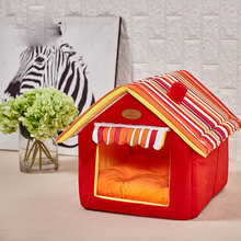 Pet House New Fashion Striped Removable Cover Mat Products Beds for Cat Dog For Small Medium Dogs