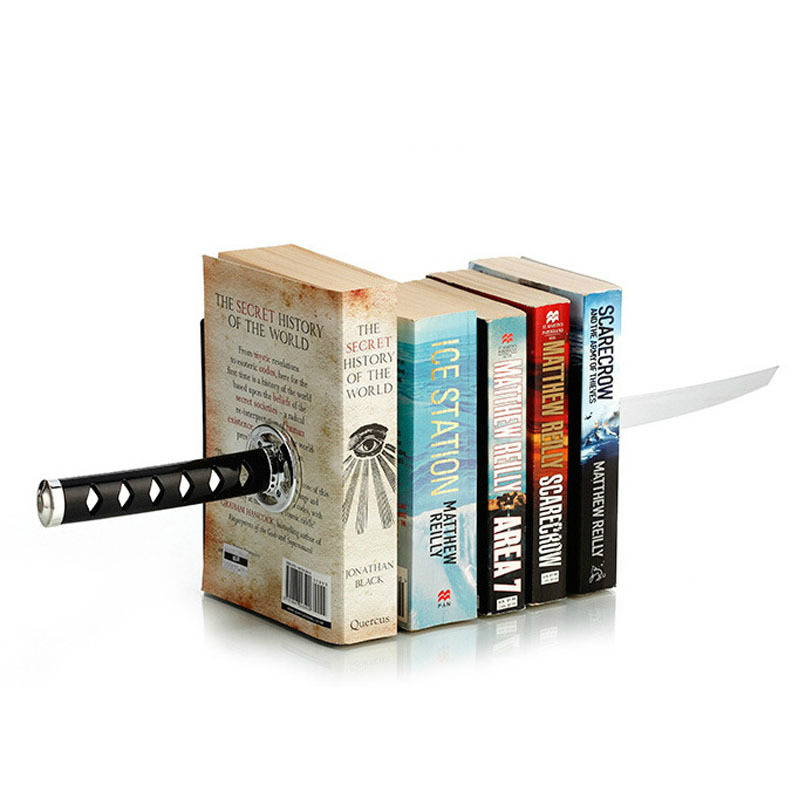 Magnetic Sword Bookend Ninja Knife Book Safe Holder Racks Organizer Home Decoration for Office Table Supplies Desk Accessories