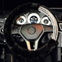 New Winter Plush Fur Car Steering Wheel Cover Cute Car Styling Rhinestone Decorations Women Girl Covers for Mercedes Benz
