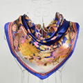 Fashion Accessories Dark Blue 100% Mulberry Silk Female Square Silk Scarf Printed,Fashion 100% Silk Crepe Satin Women Scarves