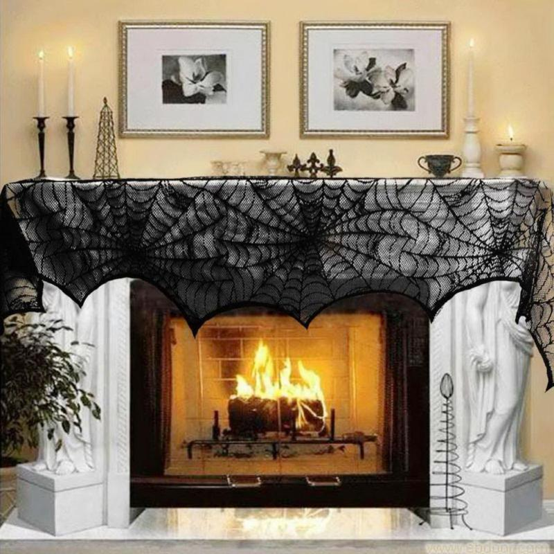 1 pc spider black web lace spiderweb fireplace mantle scarf cover festive party halloween decoration home - Decorative Fireplace
