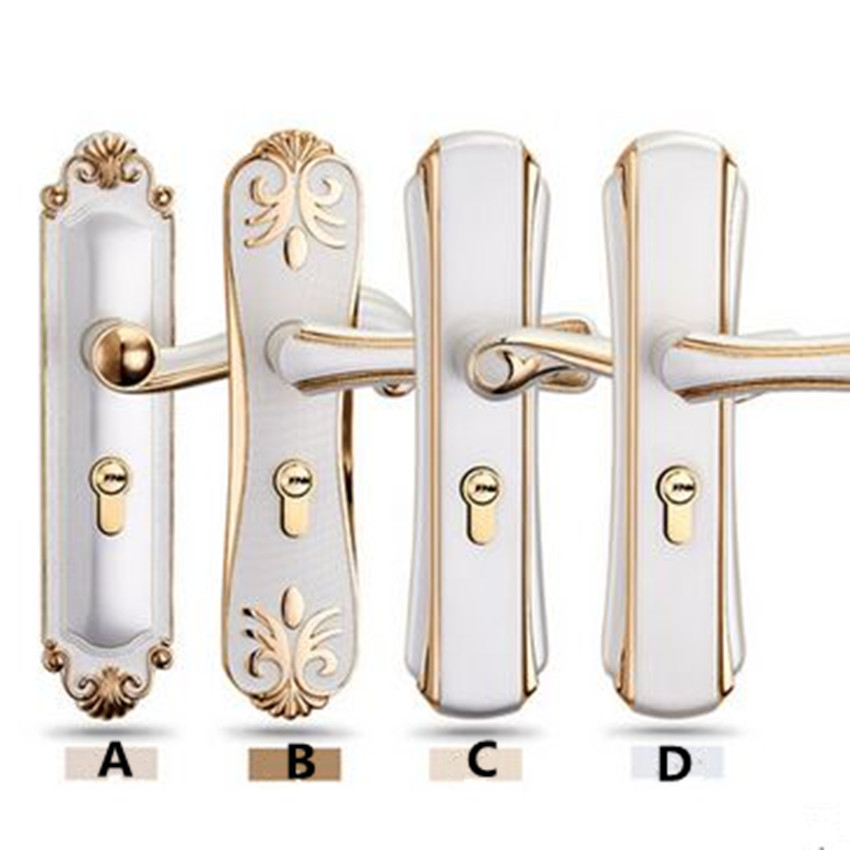 ФОТО European - style indoor bedroom simple mute the door locks modern handle locks mechanical anti - theft locks fashion ivory white