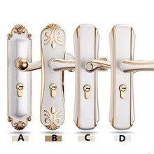 Европейский стиль крытый спальня просто немой дверные замки современные ручки замки механические противоугонные замки мода кот белый
