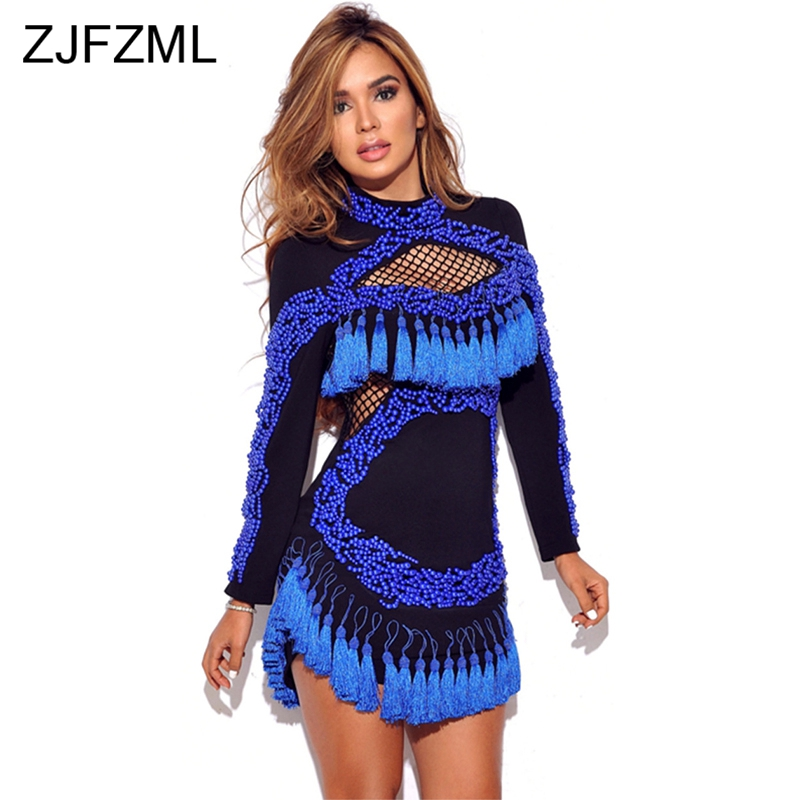Blue Beading Embellished Sexy Sheath Dress Women Long Sleeve Stand Collar Tassels Bandage Dress Elegant Hollow Out Party Dress