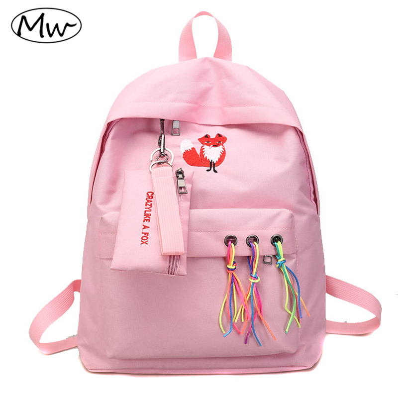 Moon Wood Harajuku Unisex Backpack Animal Fox and White Crane Embroidery Backpack 2 Pcs/Set School Bags For Teenager Girls New mara s dream 2018 unisex nylon backpack waterproof embroidery cross with letter ribbons 2 pcs set school bag boys girls rucksac