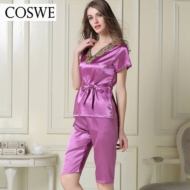 Woman Pajamas Pants Female Home wear Summer Pajama Sets White Pink Satin Silk Pajamas For Women Suit Short Home