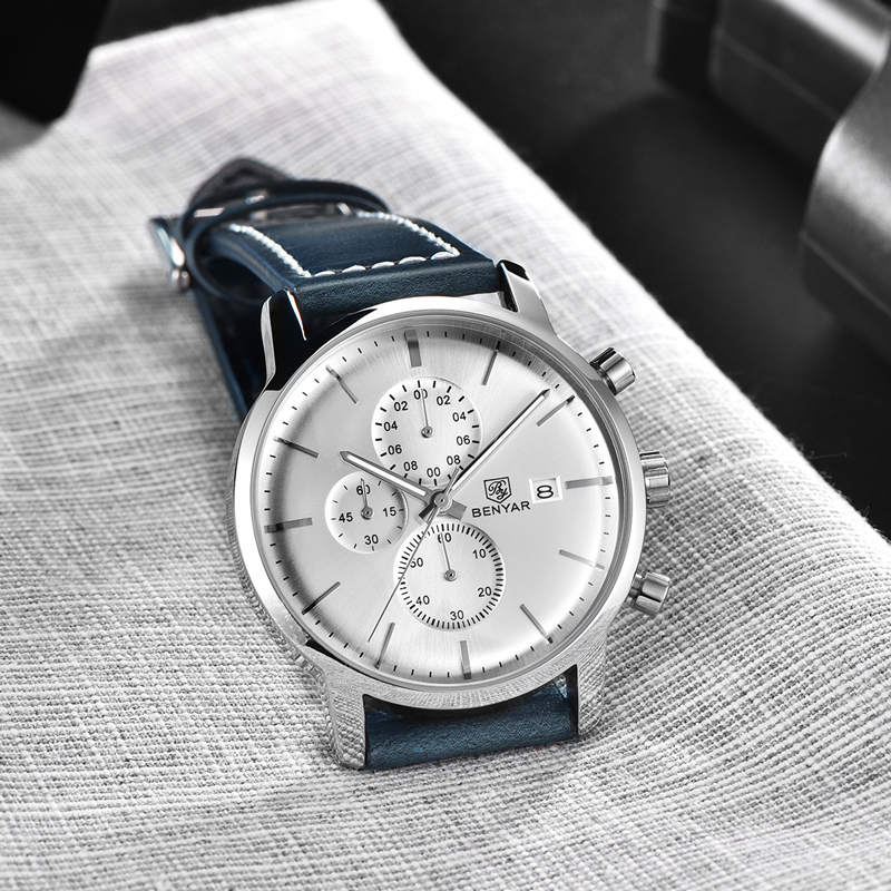 BENYAR Men 39 s Watches 2019 Fashion Top Brand Golden Deluxe Quartz Watch Sport Military Chronograph Watch Men Relogio Masculino in Quartz Watches from Watches