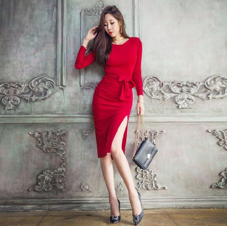 Rock George Sexy moulante femmes robe mode à manches longues fente Design noir rouge robes de grande taille vestido de festa printemps 2017