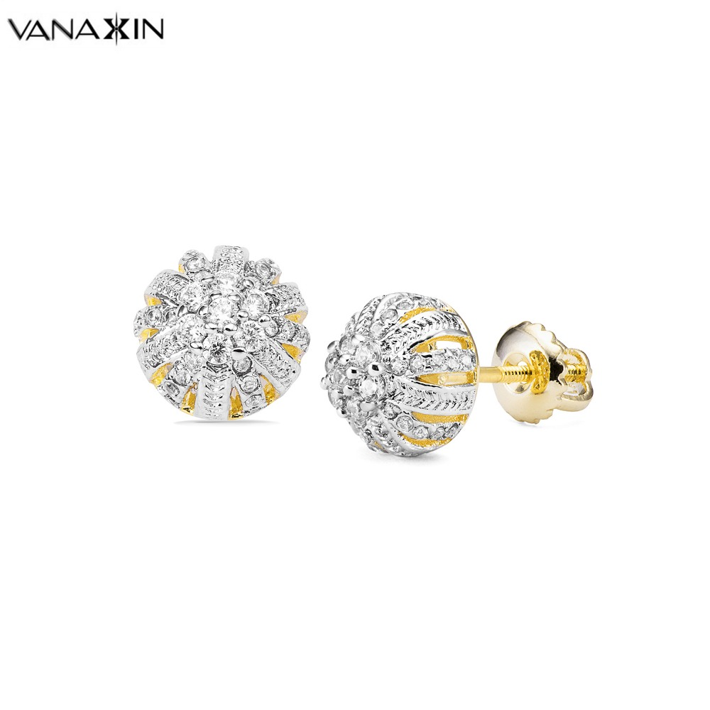 VANAXIN módní stříbro šperky náušnice květ zlato / stříbrná barva kubické zirkony náušnice pro ženy dívka zdarma box
