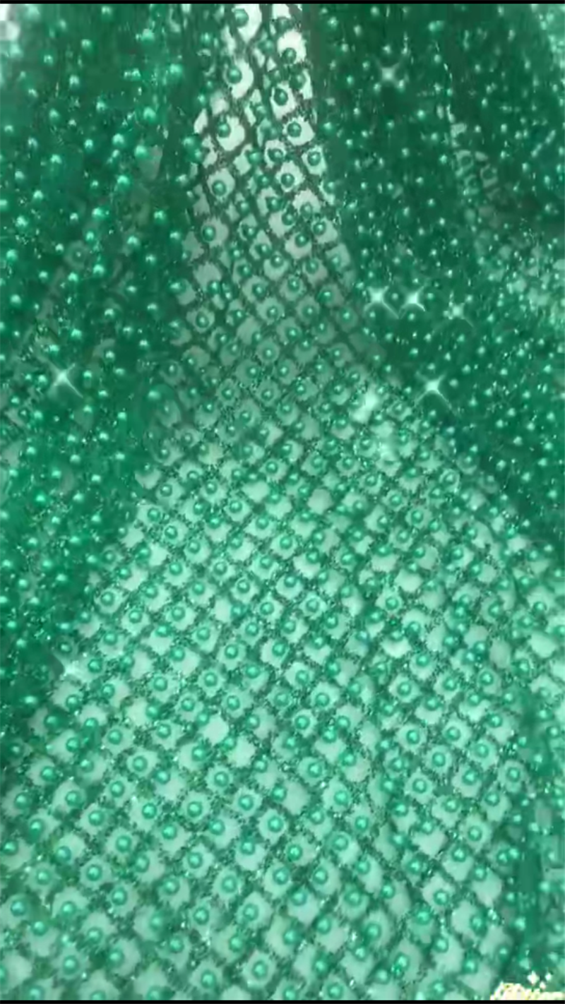 Groene kleur kralen Gelijmd glitter afrikaanse kant stof voor feestjurk, mode franse netto kant met glinsterende poeder H-12160