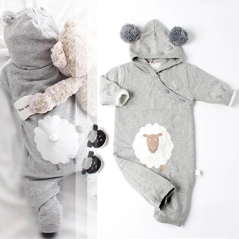 INSs Baby Sweater Knitting Explosion Baby Clothes Cartoon Hooded Jumpsuit Climb Clothes 2018 Autumn Winter