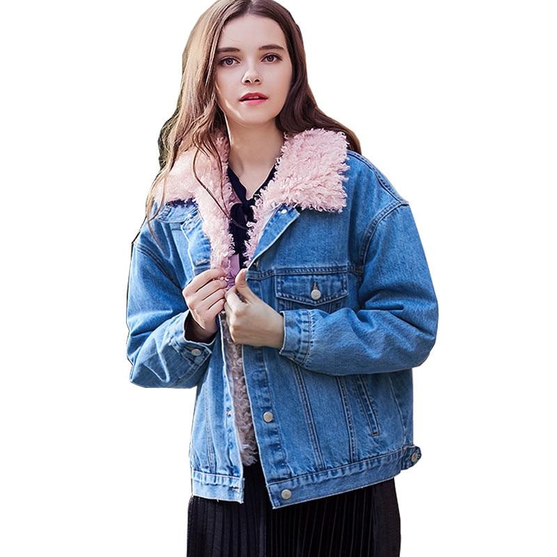 promo code ee6b6 38d99 US $55.8 40% di SCONTO MORUANCLE Donna Fashion Inverno Caldo Giubbotti  jeans E Cappotti Foderato In Pile di Spessore Termico Giacca di Jeans Tuta  ...