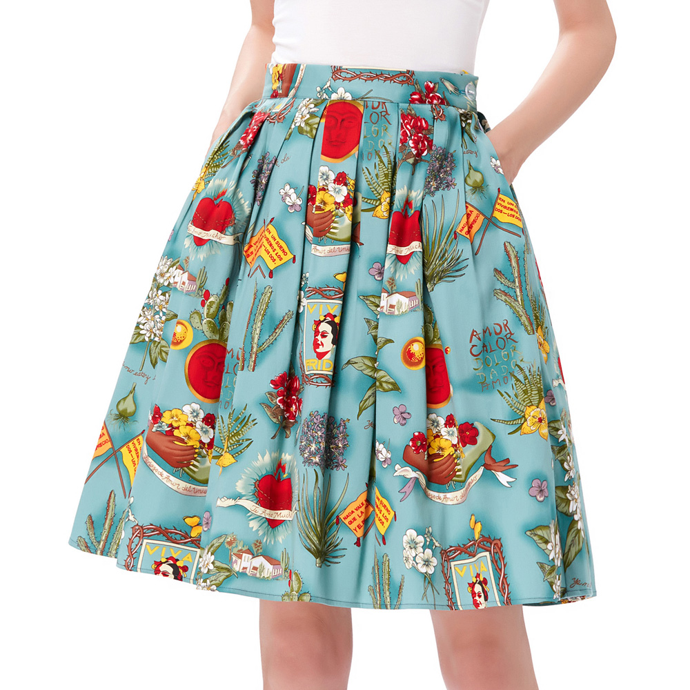 Skirts Womens 2017 Jupe Femme Floral Print Retro Cotton Women Skater Midi Skirt Falda High Waist Short Vintage Pleated Skirt