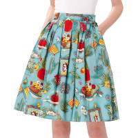 Skirts Womens 2017 Jupe Femme Floral Print Retro Cotton Women Skater Skirt Falda High Waist Short
