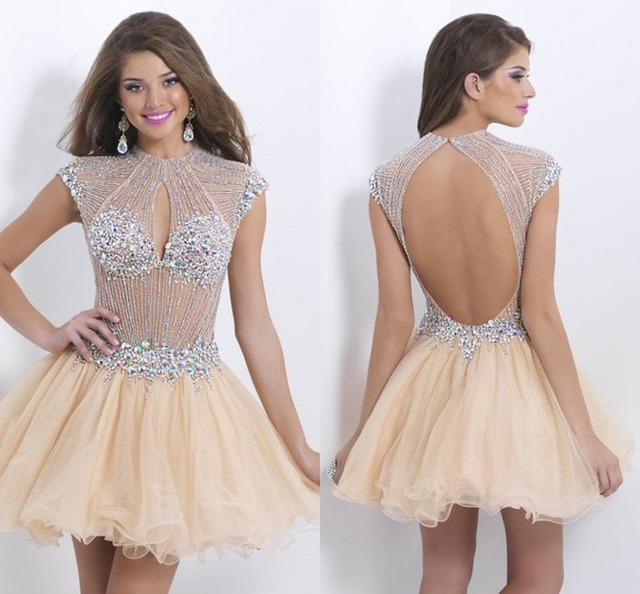 4f15fde373 Sparkly Crystal Rhinestone Beaded Beading Luxury Sexy Gold Corset Plus Size  Short Homecoming Prom Dresses 2015