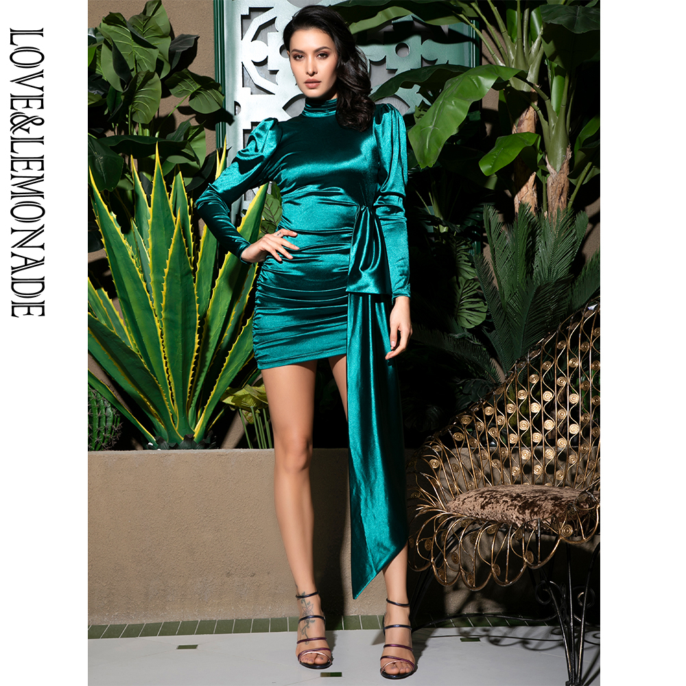 Love Lemonade Sexy Open Back High Collar Puff Sleeve Bodycon Party Dress LM81733 1 GREEN