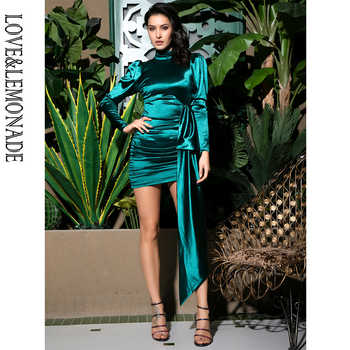 Love&Lemonade Sexy Open Back High Collar  Puff Sleeve Bodycon Party Dress LM81733-1 GREEN - DISCOUNT ITEM  15% OFF All Category