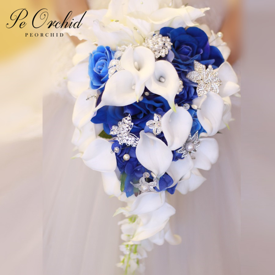 Waterfall Blue White Flower Wedding Bridal Bouquet Brooch Real Touch Artificial Fleur Mariage Pearls Crystal Brides Bouquet