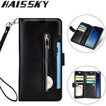 10 karte Halter Zipper Wallet Fall Für Samsung S20 S20 + S20 Ultra Hinweis 10 9 8 S10E S10 S9 s8 S7 A5 A7 2017 Flip Leder Abdeckung