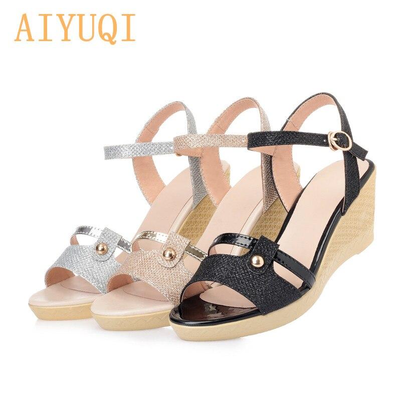 7346ae65048e9e silver Base Sandales Pour Chaussures Plate Sandale Aiyuqi forme D'été 2019  Coins De Femmes Talons ...