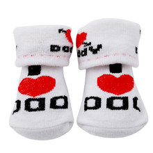 Love Dad Love Mum Cartoon Kids Socks For Girls Boys Baby Casual Socks Rubber Slip-resistant Floor Socks Leg Warmers Socks(China)
