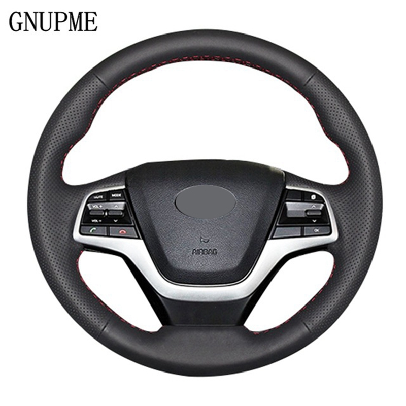 GNUPME Hand-stitched Soft Artificial Leather Car Steering Wheel Cover For Hyundai Elantra 4 2016 - 2018 Solaris 2017 Accent 2018