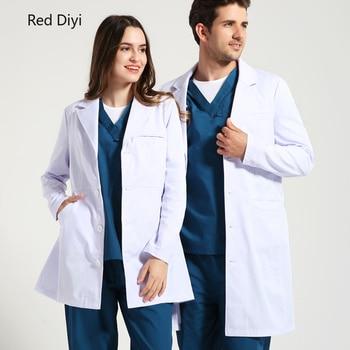 Red di yi Ladies Medical Robe clinical Medical Lab Coat women medical uniforms pharmacy hospital doctor coat White coats