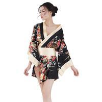 Sexy Women Satin Floral Printed Japanese Kimono Nighties Short Bath Robe Sleepwear