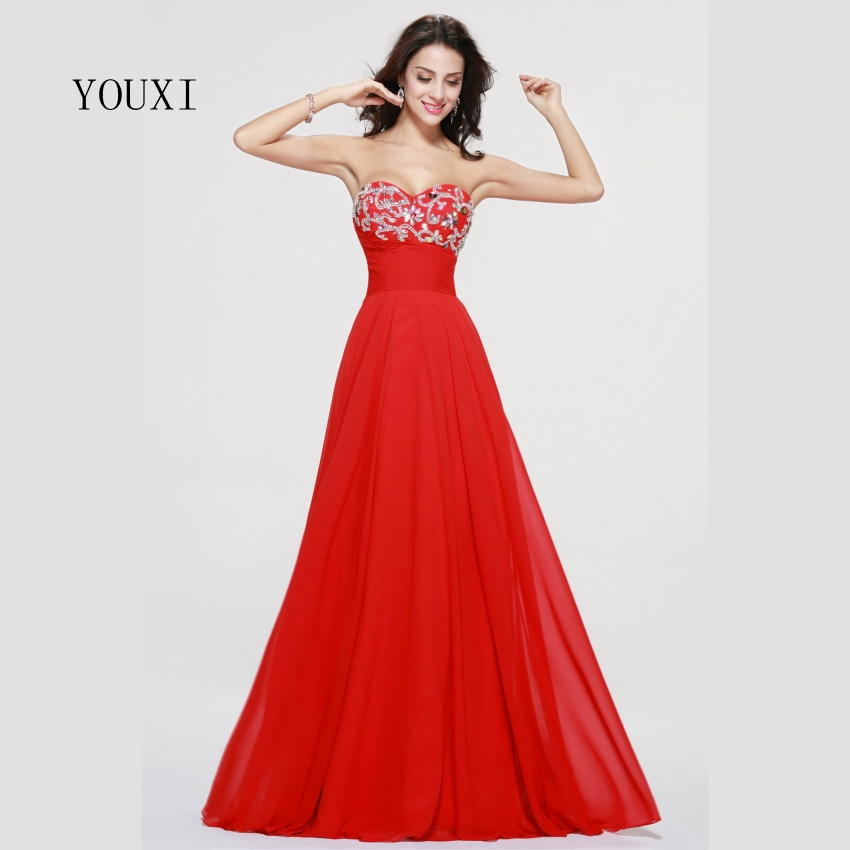 Sexy Sweetheart Long Prom Dresses 2019 Red Chiffon Crystal Formal Evening Gowns PD80