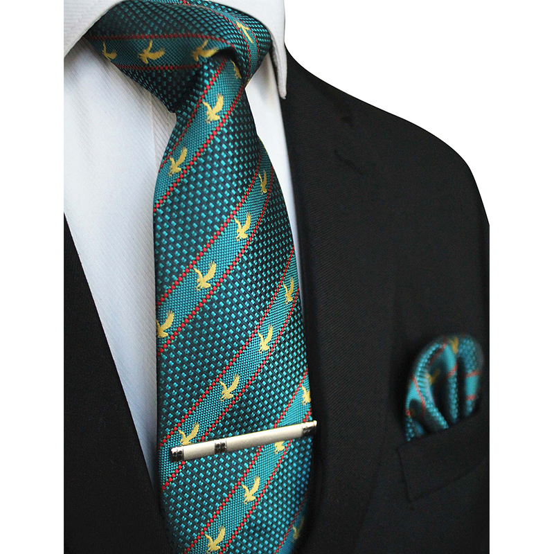 JEMYGINS Original Brand Eagle Logo Necktie 8cm Silk Necktie Pocket Square Pin Clip Tie Gift Set For Men Tie Wedding Party