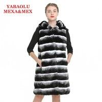 Искусственного кролика рекс меховой жилет куртка пальто Для женщин долго гудели теплый жилет пальто из искусственного меха пальто куртки ж