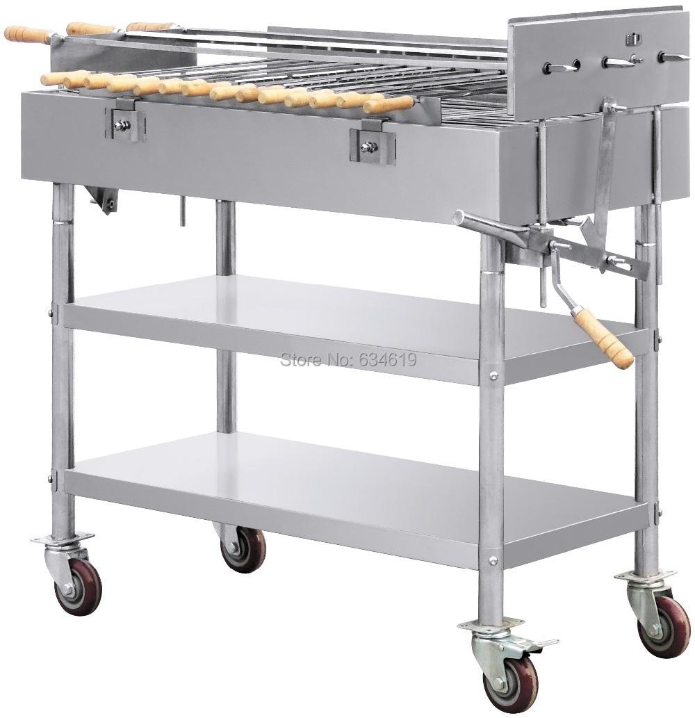 Rustfritt stål kull 220v 2 rpm elektrisk motor bbq grill mobil med - Kjøkken, spisestue og bar