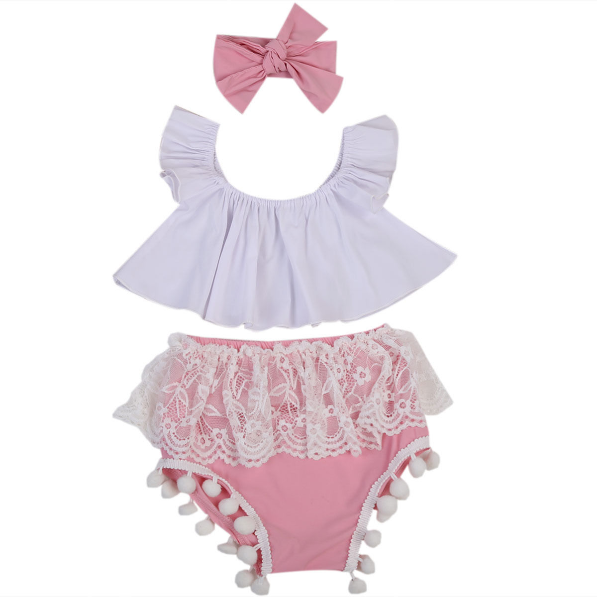 Summer Newborn Baby Girls Clothing Set Outfits Clothes Ruffle Tops+Pink Lace Shorts Headband 3PCS Cute Baby Girls Clothes Set