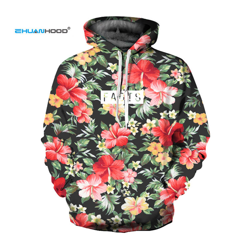 EHUANHOOD New Fashion Women /Men Hoodies Print Flowers Hip Hop 3D Sweatshirts Hoody Casual Style Ladies Hoodies Tops Pullovers