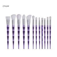 CTYLXYF12Pcs Elmas Şekli Makyaj Fırçalar Set Güzellik Kozmetik Göz Farı Dudak Toz Yüz Pincel Pinceis Aracı Kabuki Fırça Setleri