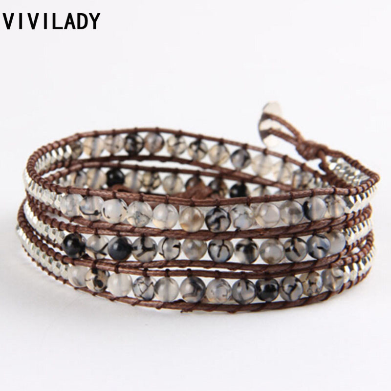 f1541ea3eb52 Vivilady negro Onyx piedra envuelto moldeado hecho a mano pulseras cuerda  marrón punk unisex Navidad regalos de cumpleaños