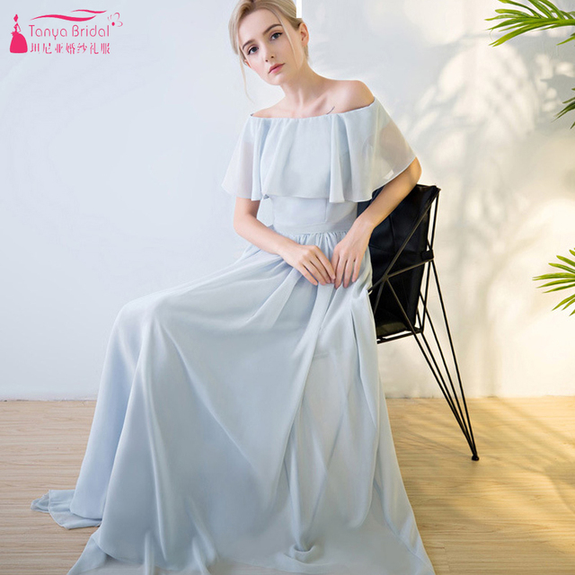 8ef6b76fff6a Light Grey Chiffon Bridesmaid Dresses Boat Neck A Line Lace Up Simple Beach  Wedding Maid Of Honor Party Gowns ZB008